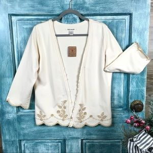 Lucky Brand NWT Embroidered Open Front Sweater/L